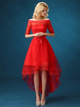 Modern Off-the-Shoulder A-Line Flowers Asymmetrical Red Prom Dress & Faster Shipping Sale for sale