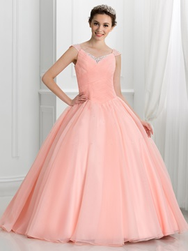 V-Neck Beading Pleats Lace-Up Ball Gown Quinceanera Dress & romantic Faster Shipping Sale