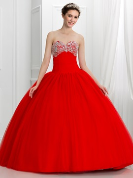 Pretty Sweetheart Beading Ball Gown Red Quinceanera Dress & Faster Shipping Sale under 300