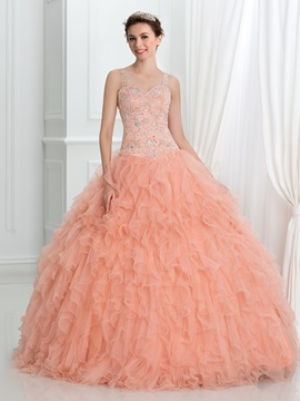 Straps Beading Ruffles Ball Gown Quinceanera Dress & discount Faster Shipping Sale