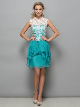 Chic Tiered Ruffles Lace Short Column Cocktail Dress & Faster Shipping Sale online
