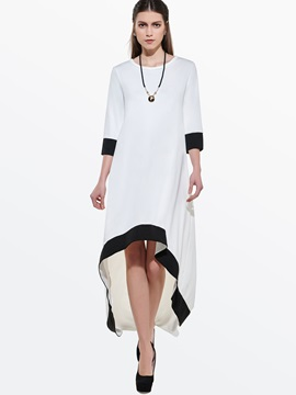 Asymmetric Contrast Color 3/4 Sleeve Women's Day Dress