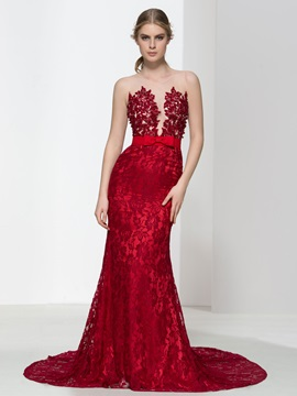 Super Straps Bowknot Pearls Mermaid Lace Evening Dress & Faster Shipping Sale under 300