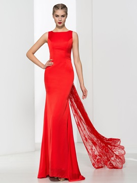 Simple Straps Bowknot Lace Sheath Red Evening Dress & quality Faster Shipping Sale
