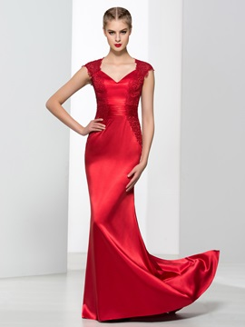 Ladylike V-Neck Cap Sleeves Lace Mermaid Evening Dress & romantic Faster Shipping Sale