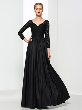 Vintage V-Neck Long Sleeves Black Lace Evening Dress & Faster Shipping Sale 2012