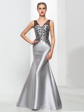 Timeless V-Neck Embroidery Beading Trumpet Evening Dress & Faster Shipping Sale on sale
