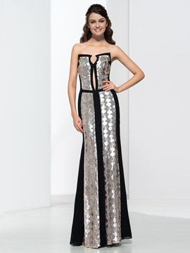 Elegant Sheath Strapless Sequins Floor Length Evening Dress & attractive Faster Shipping Sale
