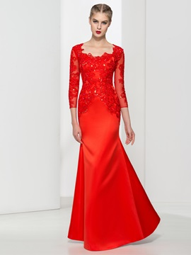 Square Neck 3/4 Length Sleeves Appliques Red Evening Dress & quality Faster Shipping Sale
