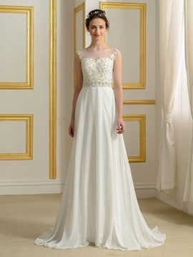 Sheer Bateau Neck Beaded Lace Button Zip-up Ivory Wedding Dress & Faster Shipping Sale from china