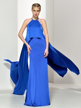 Elegant Halter Tiered Watteau Train Long Evening Dress & Faster Shipping Sale on sale