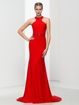 Graceful Halter Beading Red Sheath Evening Dress & Faster Shipping Sale under 500