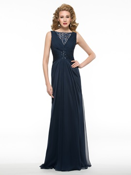 Sequined Bateau Neck Ruched Chiffon Long Mother of the Bride Dress & modest Faster Shipping Sale