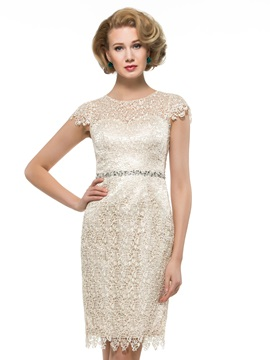 Knee Length Sheath Lace Mother Dress with Crystal Belt & Faster Shipping Sale under 100