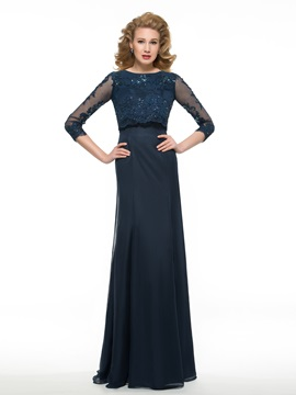 Sequined Lace 3/4 Sleeves Chiffon Long Mother of the Bride Dress & fairytale Faster Shipping Sale