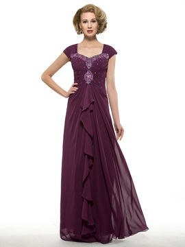 Ruched Beaded Sweetheart Grape Chiffon Mother of the Bride Dress & Faster Shipping Sale for less