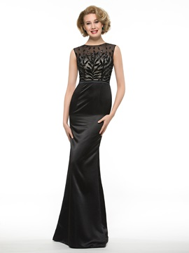 Floor Length Sheath Floral Sequined Black Satin Mother of the Bride Dress & elegant Faster Shipping Sale