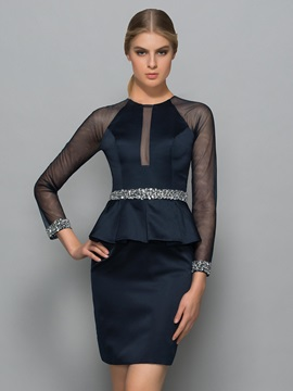 Sexy Sheer Back Beading Long Sleeve Sheath Formal Dress & simple Faster Shipping Sale