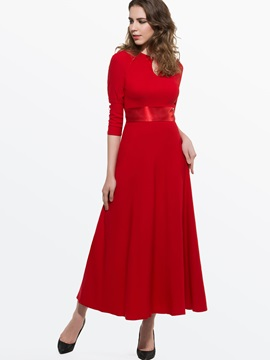 Solid 3/4 Sleeve Belt Maxi Dress