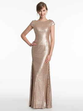 Short Sleeves Sequins Sheath Backless Bridesmaid Dress & fashion Faster Shipping Sale