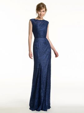 Jewel Neck Open Back Sheath Long Lace Bridesmaid Dress & fairytale Faster Shipping Sale