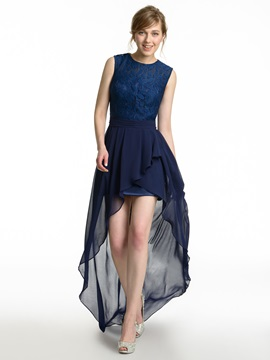 Lace Top High Low Bridesmaid Dress & petite Faster Shipping Sale