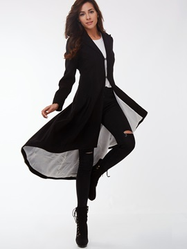 Stylish Swallowtail Hem Slim Trench Coat