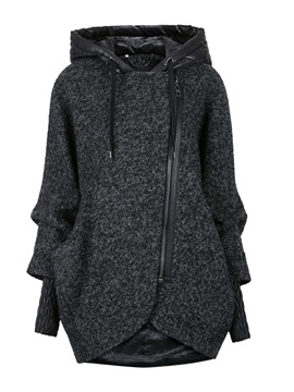 Stylish Sleeves Hooded Zipper Trench Coat