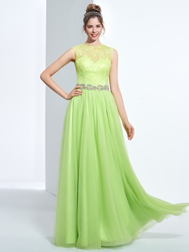 Jewel Neck Beading Button Lace Prom Dress & Faster Shipping Sale under 300