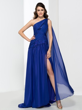 One Shoulder Appliques Sequins Pleats Split Front Evening Dress & informal Faster Shipping Sale