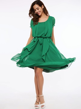 Asymmetric Solid Color Short Sleeve Belt Day Dress