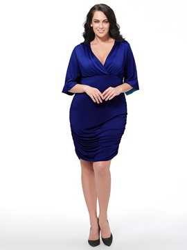 Solid Color V-Neck Flare Sleeve Plus Size Women's Bodycon Dress