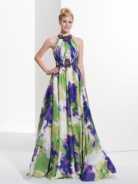Charming Halter Sequins Appliques Print Prom Dress & Faster Shipping Sale under 300