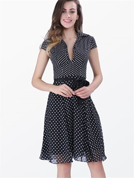 Lapel Short Sleeve Polka Dots Lace-Up Day Dress
