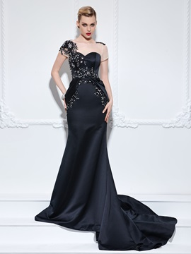 Graceful Short Sleeves Appliques Beading Trumpet Evening Dress & modest Faster Shipping Sale