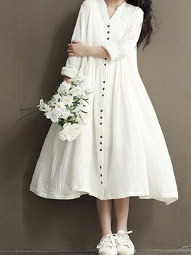 Bat sleeve cotton long length casual dress