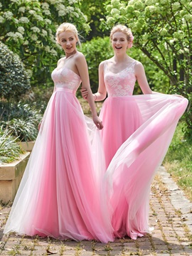 Beautiful Sweetheart Lace Top A Line Long Bridesmaid Dress & Faster Shipping Sale for less