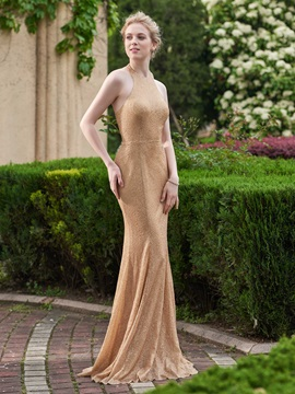 Beautiful Halter Sequins Mermaid Bridesmaid Dress & Faster Shipping Sale under 300
