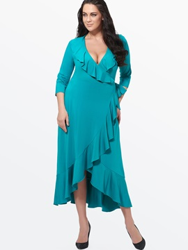 Falbala Solid V  Dress