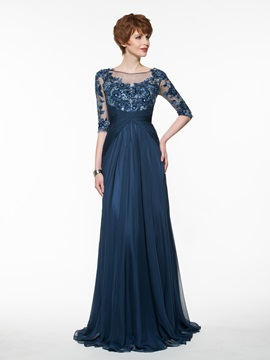 Beautiful Bateau A Line Long Mother of the Bride Dress & Faster Shipping Sale from china