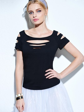 Slim-Fit Cut-Out Short-Sleeve Women T-Shirt