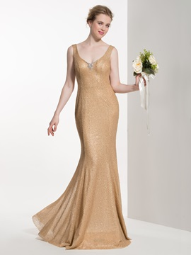 Attractive V Neck Beading Mermaid Bridesmaid Dress & Faster Shipping Sale under 300