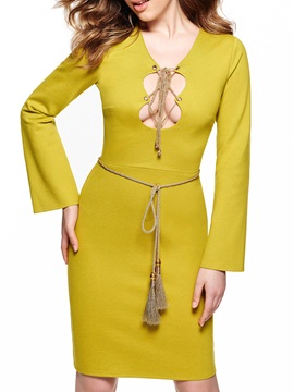Sisjuly Long Sleeve Tie-up Day Dress