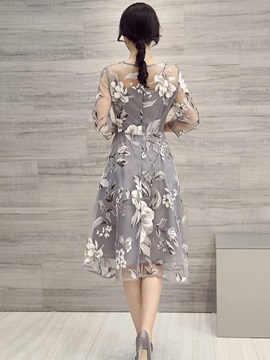 Flower Print Three-Quarter Sleeve Expansion Casual Dress
