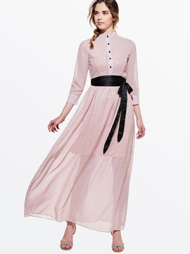 Chic Turtleneck Nine Points Sleeve Belt Maxi Dress