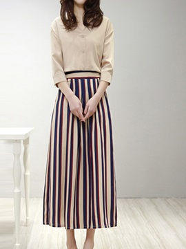 Elegant 3/4 Sleeve Shirt & Stripe Pant