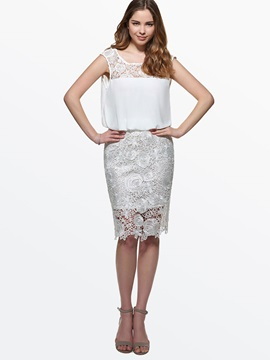 Lace Patchwork Backless Day Dress