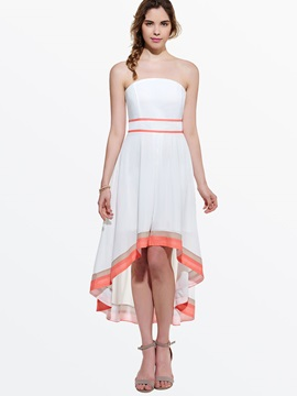 Contrast High-Low Off-the-Shoulder Day Dress