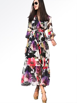 Floral Print V Neck Flare Sleeve Maxi Dress