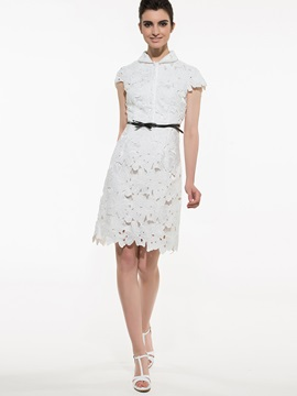 Chic Solid Color Slim Lace Dress